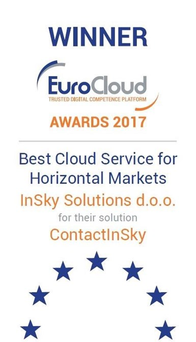 ContactInSky solution Winner of EuroCloud Awards